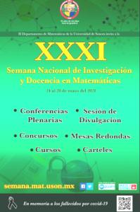 XXXI Semana Nacional de Investigación y Docencia en Matemáticas